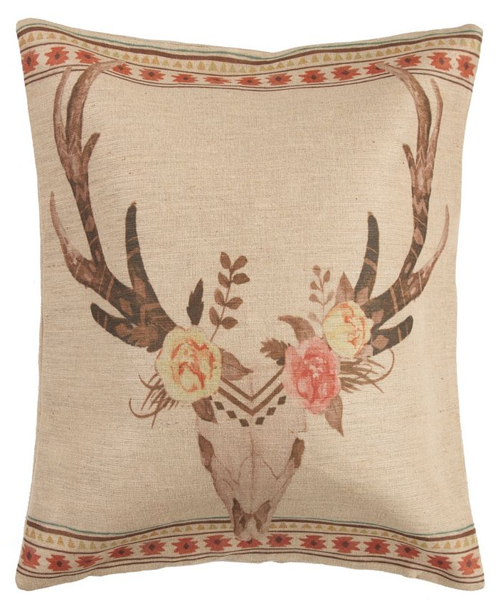 HiEnd Accents - Burlap Skull with Flowers Pillow, 22X22