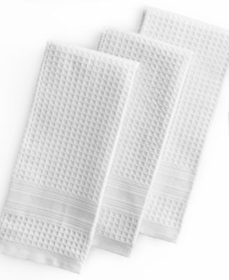 Martha Stewart Collection Kitchen Towels, Set of 3 Waffle Weave White