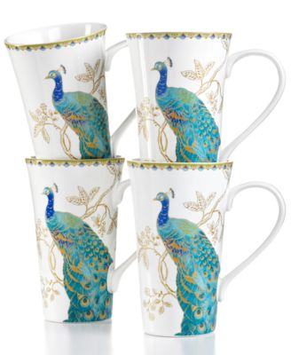 222 Fifth Set of 4 Peacock Garden Latte Mugs