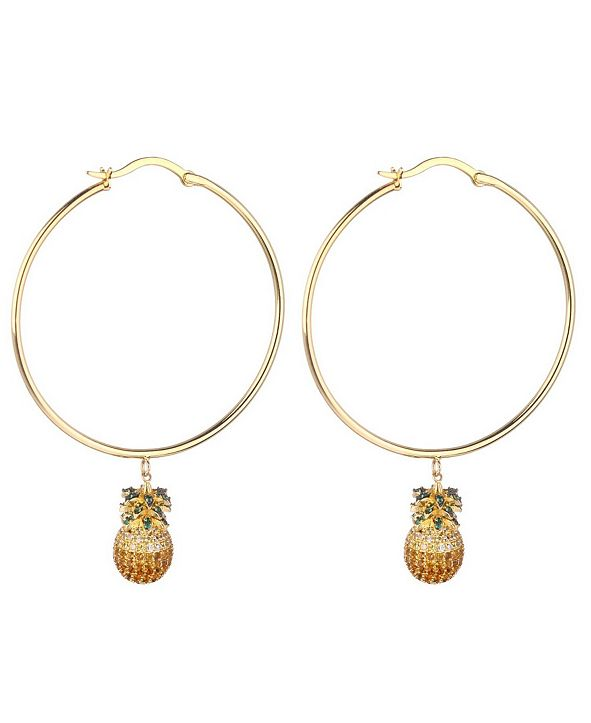 nOir Cubic Zirconia Pineapple Extra Large Hoop Earrings