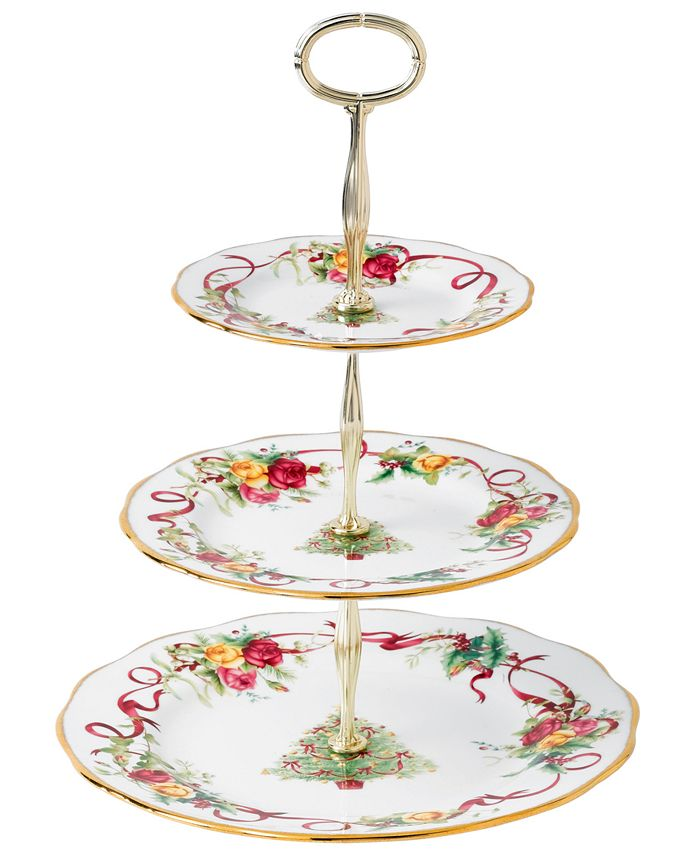 Royal Albert - Old Country Roses Holiday 3-Tiered Cake Plate