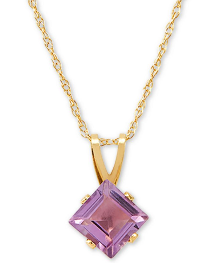 "Macy's - Amethyst 18"" Pendant Necklace (3/8 ct. t.w.) in 14k Gold"