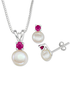 """Cultured Freshwater Pearl (6mm-7mm) & Ruby (1/2 ct. t.w.) 18"""" Pendant Necklace & Stud Earrings Set in Sterling Silver"""