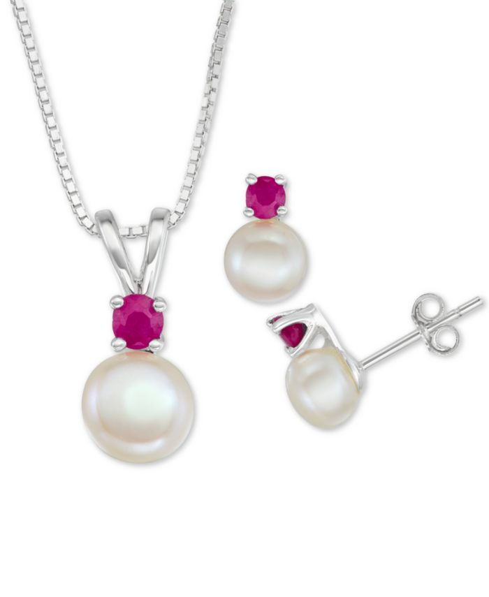 """Macy's Cultured Freshwater Pearl (6mm-7mm) & Ruby (1/2 ct. t.w.) 18"""" Pendant Necklace & Stud Earrings Set in Sterling Silver & Reviews - Jewelry & Watches - Macy's"""