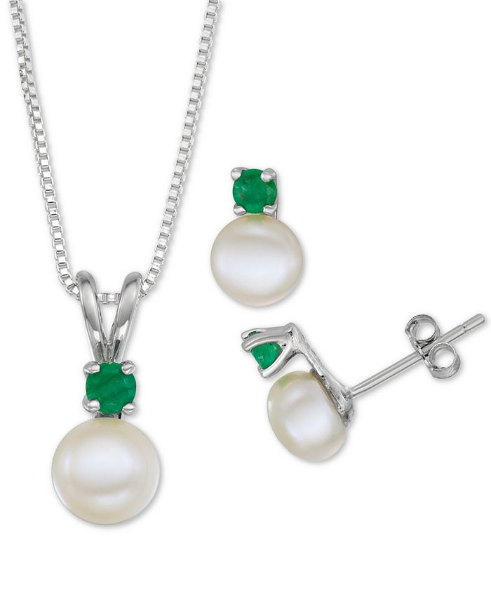 "Macy's - Cultured Freshwater Pearl (6-7mm) & Emerald (1/3 ct. t.w.) 18"" Pendant Necklace & Stud Earrings Set in Sterling Silver"