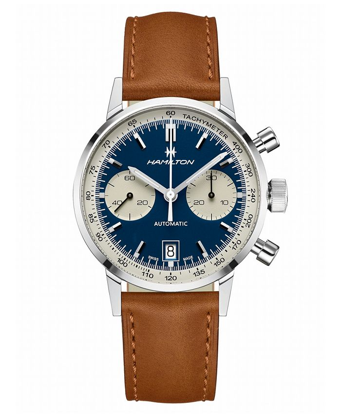 Hamilton - Men's Swiss Automatic Chronograph Intra-Matic Brown Leather Strap Watch 40mm
