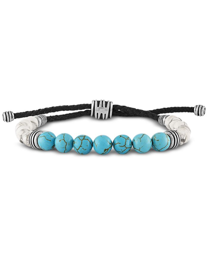 Esquire Men's Jewelry Dyed Blue Magnesite & White Howlite Beaded Bolo Bracelet in Sterling Silver & Reviews - Bracelets - Jewelry & Watches - Macy's