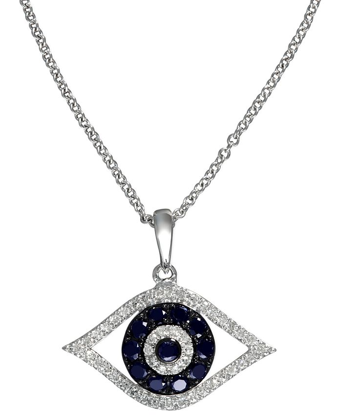 EFFY Collection - Sapphire (1/4 ct. t.w.) and Black and White Diamond (1/8 ct. t.w.) Evil Eye Pendant in 14k Gold