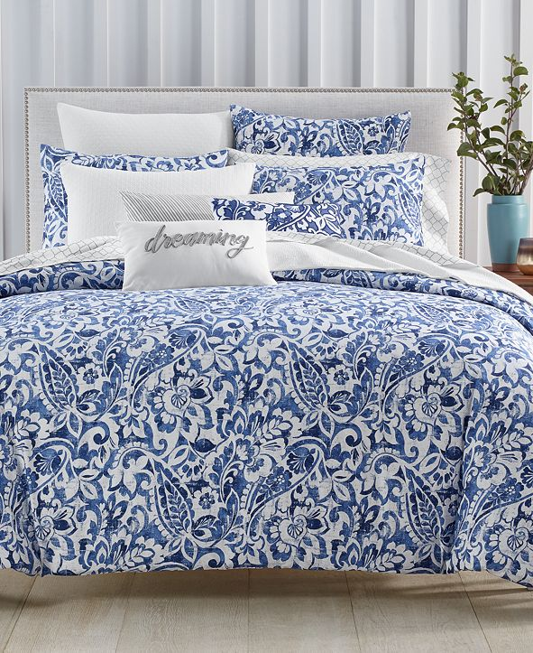 Charter Club Textured Paisley Cotton 300-Thread Count 2-Pc. Twin Duvet Cover Set, Created for Macy's
