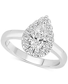Certified Diamond Pear Halo Engagement Ring (1 ct. t.w.) in 14k White, Yellow or Rose Gold