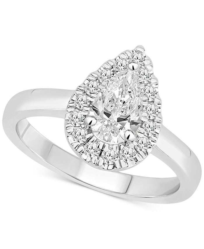 Macy's - Certified Diamond Pear Halo Engagement Ring (1 ct. t.w.) in 14k Gold, 14k Rose Gold or 14k White Gold