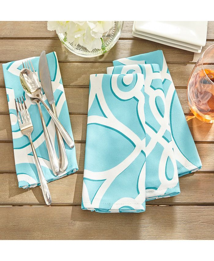 "Elrene - Chase Geometric Stain Resistant Indoor Outdoor 17""X17"" Napkin Set of 8"