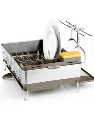 simplehuman Dish Rack, Steel Frame with Wine Glass Holder