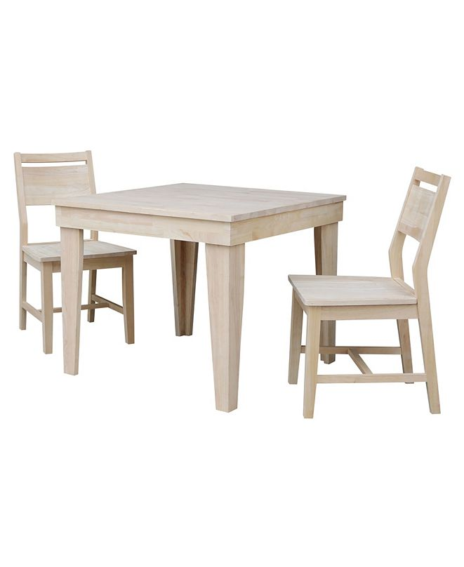 International Concepts Aspen Solid Wood Top Table - Standard Dining Height - With 2 Chairs