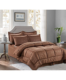 Elegant Comfort 8-Piece Bamboo Bed-in-a-Bag Comforter Set Includes Bed Sheet Set with Double Sided Storage Pockets Full/Queen