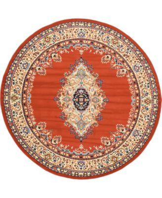 Birsu Bir1 Terracotta 8' x 8' Round Area Rug
