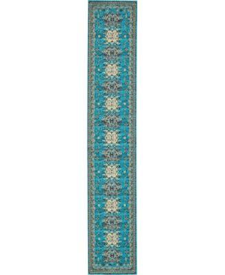 "Charvi Chr1 Turquoise 3' x 16' 5"" Runner Area Rug"