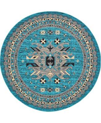 Charvi Chr1 Turquoise 8' x 8' Round Area Rug