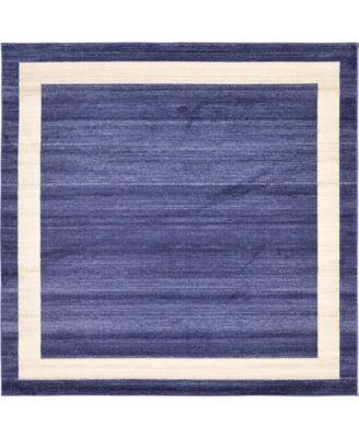 Lyon Lyo5 Navy Blue 8' x 8' Square Area Rug