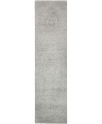 """Salon Solid Shag Sss1 Light Gray 2' 7"""" x 10' Runner Area Rug"""