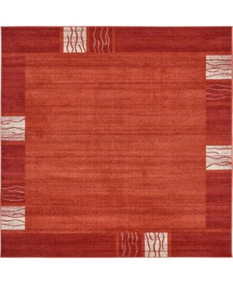 Lyon Lyo1 Rust Red 8' x 8' Square Area Rug
