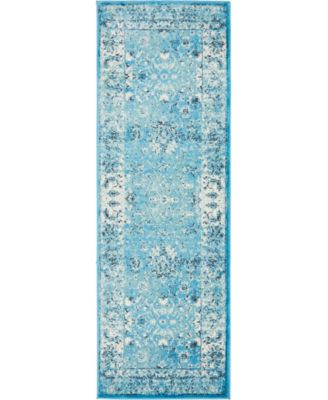 Linport Lin1 Turquoise/Ivory 2' x 6' Runner Area Rug
