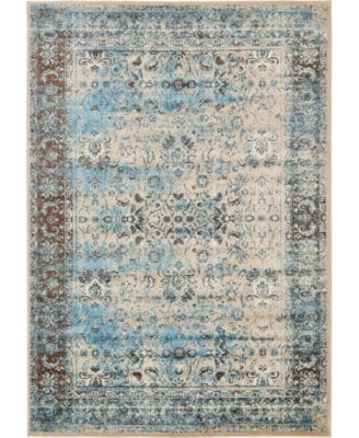 Linport Lin1 Ivory/Turquoise 7' x 10' Area Rug