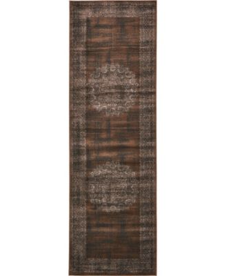 "Linport Lin5 Chocolate Brown 3' x 9' 10"" Runner Area Rug"
