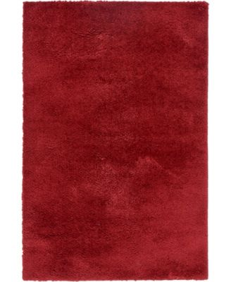 Salon Solid Shag Sss1 Red 4' x 6' Area Rug