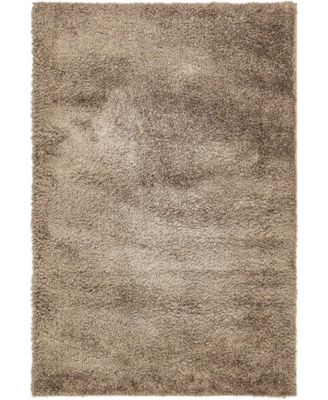 Salon Solid Shag Sss1 Brown 4' x 6' Area Rug