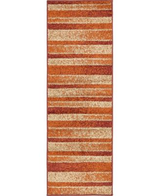 Jasia Jas12 Rust Red 2' x 6' Runner Area Rug