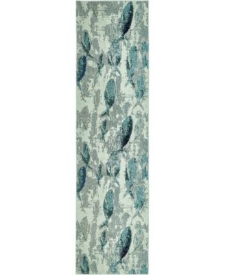 """Ikbal Ikb6 Light Blue 2' 7"""" x 10' Runner Area Rug"""