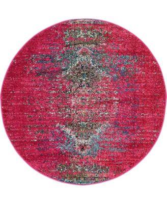 Brio Bri6 Pink 4' x 4' Round Area Rug