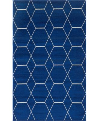 Plexity Plx1 Navy Blue 5' x 8' Area Rug
