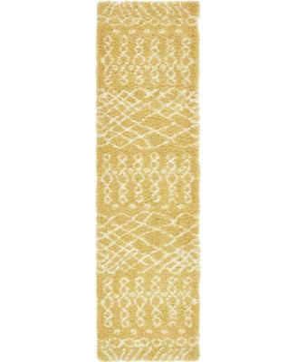 "Fazil Shag Faz2 Yellow 2' 7"" x 10' Runner Area Rug"