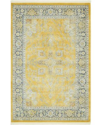 "Kenna Ken1 Yellow 4' 3"" x 6' Area Rug"