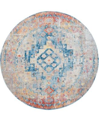 Nira Nir5 Blue 8' x 8' Round Area Rug