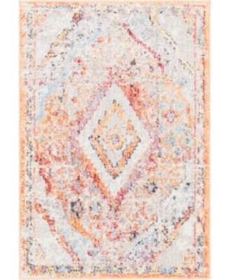 "Zilla Zil1 Orange 2' 2"" x 3' Area Rug"