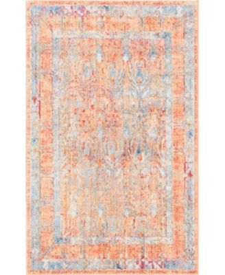 "Zilla Zil2 Orange 3' 3"" x 5' 3"" Area Rug"