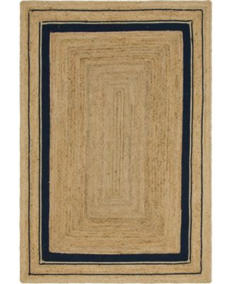 Braided Border Brb1 Natural/Navy 6' x 9' Area Rug