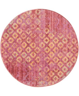 """Prizem Shag Prz2 Pink 3' 3"""" x 3' 3"""" Round Area Rug"""