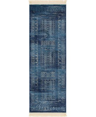 "Borough Bor4 Blue 2' 2"" x 6' Runner Area Rug"