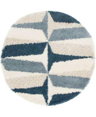 Lochcort Shag Loc6 Blue 5' x 5' Round Area Rug