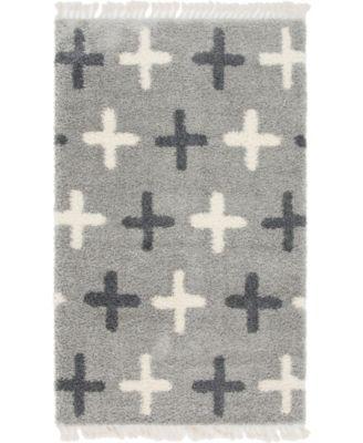 Lochcort Shag Loc7 Light Gray 5' x 8' Area Rug