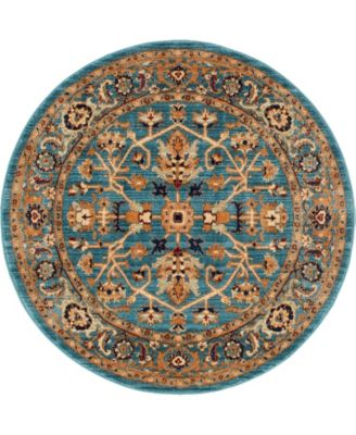 """Thule Thu1 Turquoise 4' 5"""" x 4' 5"""" Round Area Rug"""