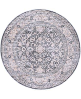 Anika Ani2 Gray 6' x 6' Round Area Rug