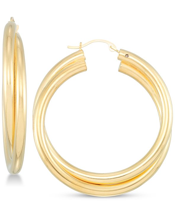Signature Gold Diamond Accent Double Hoop Earrings in 14k Gold Over Resin, Created for Macy's