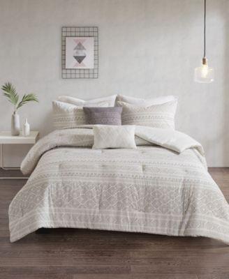 Lizbeth King/California King 5 Piece Cotton Clip Jacquard Duvet Cover Set