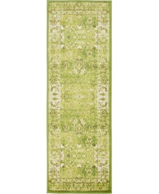 Linport Lin1 Green 2' x 6' Runner Area Rug