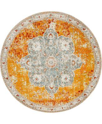 Mishti Mis8 Orange 8' x 8' Round Area Rug